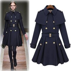 Fashion Turndown Collar Double-breasted Long Sleeves Long Blue Windcoat