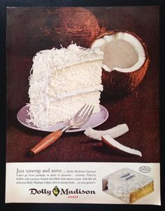 1961 Dolly Madison Coconut Cakes 1 piece cake open coconut vintage print ad #DollyMadison