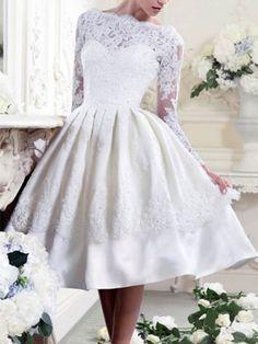 Prom maybe?? Lace Patchwork Vintage Slash Neck Party Dress