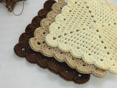 Crochet Dish Cloths ~ Scalloped Wash Cloths - pinned by pin4etsy.com