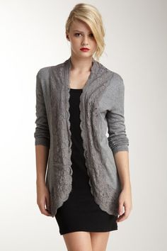 Cupio Pointelle Lace Trim Cardigan: my husband would hate it, but I love it!