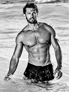 Tim Robards by Jason Ierace (2014) #TimRobards #JasonIerace #Australian #malemodel #model #fitness #fitnessmodel #ChadwickModels #TheBachelor #beard #pecs #chest #abs #muscles #swim #swimwear #pool #sea #water #bw