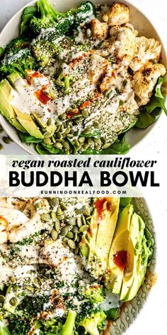These vegan low-carb Roasted Cauliflower Broccoli Bowls feature lemon roasted cauliflower, avocado, broccoli, seeds and a lemon tahini dressing. Healthy Recipes, Healthy Fats, Low Carb Recipes, Vegetarian Recipes, Thai Recipes, Free Recipes, Soup Recipes, Healthy Eating, Keto Foods