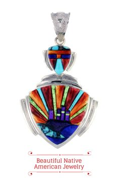 #NativeAmericanJewelry David Rosales, the master inlay artist, designed this beautiful Navajo pendant. It features #Turquoise, lapis, spiny oyster shell, sugilite, and gaspeite all inlaid in sterling silver.