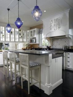 kitchens of the sea love a white kitchen and the blue really adds a blue pendant lighting