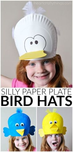 These silly paper plate bird hats make a great spring kids craft, bird crafts for kids, preschool craft and spring bird craft for kids.