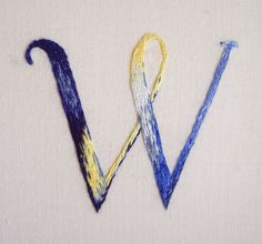 Artist: Maricor/Maricar - Hand Embroidered Typography Initial 'W'