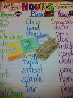 Noun Chart with popsicle sticks and a tri-fold