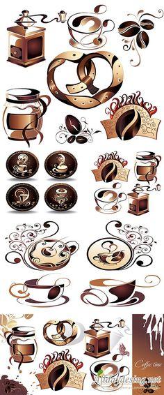Векторный клипарт: Кофейные и чайные элементы