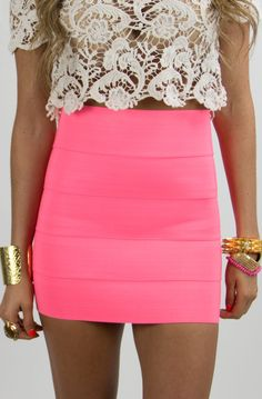 PINK NEON BANDED SKIRT w/crochet top
