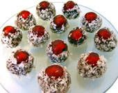 Reindeer Noses are delicious chocolate fudge balls topped with candied cherries. These candies are eye-catching and make a perfect holiday treat. Christmas Sweets, Christmas Goodies, Christmas Candy, Christmas Baking, Christmas Ideas, Holiday Baking, Christmas Stuff, Christmas Gifts, Xmas