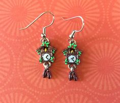 Cuckoo clock earrings. German clock. Quirky.  Hand painted earrings. Miniature clock earrings. Octoberfest earrings. Black Forest style. by ArtisticEarsByPeggy on Etsy