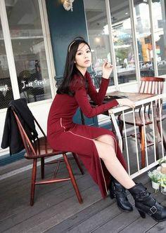 Noble Diagonal Zipper Full Sleeves Long Dress - BuyTrends.com