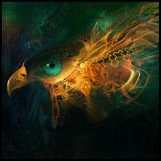 A psychedelic and surreal Photoshop painting by digital artist Andy android Jones of an eagle