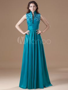 Taffeta High Collar Neckline Floor Length A-Line Embroidered Prom Dress Prom Dresses For Sale, Women's Evening Dresses, Dresses 2013, Formal Dresses, Formal Wear, Mother Of The Bride Gown, Taffeta Dress, Pli, Special Occasion Dresses