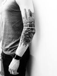 Black And White Tree Tattoo On Arm