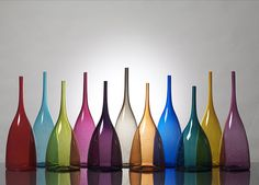 Scribble Vases by Michael J. Schunke...I do love the way glass holds color and attracts my eyes even though it is a medium/art form that seems to delicate/fragile to collect.