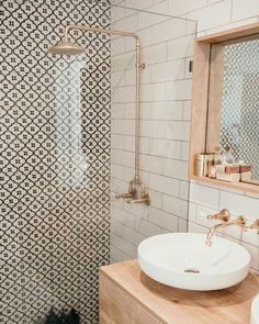 - A mix of mid-century modern, bohemian, and industrial interior style. Home and - A mix of mid-century modern, bohemian, and industrial interior style. Home and. Diy Bathroom, Bathroom Styling, Bathroom Interior, Modern Bathroom, Bathroom Lighting, Brick Bathroom, Bathroom Sinks, Minimalist Bathroom, Master Bathroom