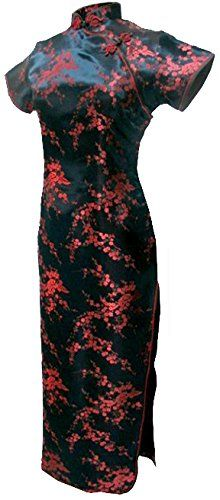 4c00f6e9e01c 7Fairy Women's Vtg Black&Red Floral Long Chinese Prom Dress Cheongsam