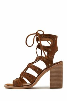 """Rocked out and ready to go…this wood heel is the perfect height to take any it-girl from day straight into night.    Heel Height: 3.5"""" Laces   Boho Lace-Up Heels by Dolce Vita. Shoes - Sandals - Heeled Wallingford, Connecticut"""