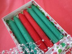 Red and Green Beeswax Candles in a Gift Box Gifts for by mcandles