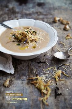 Roasted Cauliflower Soup With Crispy Parmesan Fries | Cook Republic