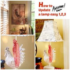 This guy was in need of a pick me up!   Here is the How to update a lamp…fast and easy. I love my roos, and I adore French Country decorating. My rooster lamp, that I adore, and have had for sometime now, was crying in the corner, he wanted paint too. In fact, very [...]