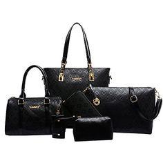Women Handbag,Women Bag, KINGH Vintage Argyle PU Leather Tote Clutch Purse 6 PCS Set Bag 090 Black -- Be sure to check out this awesome product.