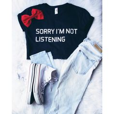 Sorry I'm Not Listening Tumblr Tee Shirt ($16) ❤ liked on Polyvore featuring tops, t-shirts, grey, women's clothing, bleach t shirt, t shirts, pattern t shirt, print t shirts and stitch t shirt