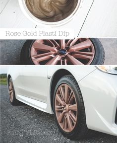 DIY Paint your rims. Rose Gold Plasti Dip. Peelable rubber spray paint. Dip anything just like spray paint.