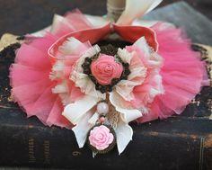 Pink textile necklace