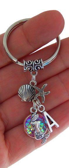 Mermaid Initial Keychain charm Mermaid Key Chains Mermaid Initial Rose scales