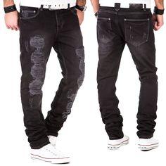Herren Jeans Hose Denim Destroyed Clubwear Vintage Kosmo Japan Style Look Fit