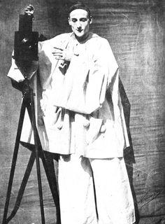 Felix Nadar and Adrien Tournachon :  The mime Debureau as Pierrot, posing as a photographer, Paris      1854