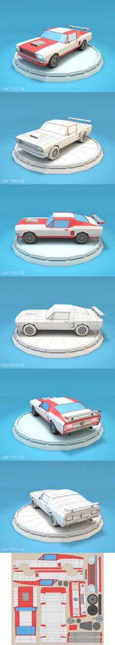Cartoon Mustang Car Low Poly. 3D Vehicles