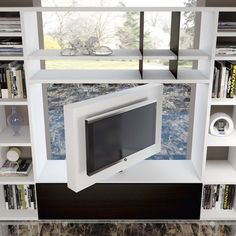 Revolving tv stand to watch tv 360 Living Room Partition Design, Room Partition Designs, Tv Wall Design, Living Room Tv, Interior Design Living Room, Living Room Designs, Studio Apartment Decorating, Apartment Design, Small Apartments