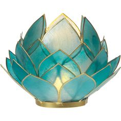 Capiz Lotus Candle Holder (4.5-Inch, Turquoise Blue, Full Bloom,... ($16) ❤ liked on Polyvore featuring home, home decor, candles & candleholders, fillers, decor, candles, turquoise candle holders, seashell candle holder, turquoise home decor and lotus flower candle holder