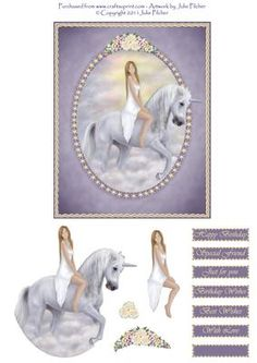 Day Dreamer Unicorn Decoupage Card Topper on Craftsuprint designed by Julie Pilcher - This pretty topper was created from one of my original pieces of artwork... the beautiful lady is sitting on a handsome Unicorn, riding off into the clouds. - Now available for download!
