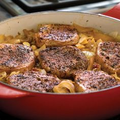 Pork Chops, Cabbage, and Apples Dish Recipe. So SO yummy! Fry up the pork chops with 1 slice of bacon - 3 mins each side. Remove. Then add cabbage, celery, apple, chicken broth, tomato paste and balsamic vinegar and seasonings. I chopped up the pork and added it back in and cooked for 15 minutes. It was so AMAZING! I'm definitely making it again. No added  - 4/21/13 - E