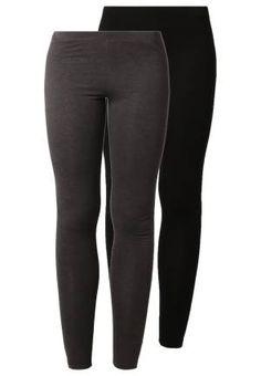 Zalando Essentials 2 Pack Leggins Black Dark Grey Melange leggins ropa zalando Melange leggins Grey Essentials Dark black 2 Pack Noe.Moda