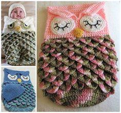Crocheted owl snuggie for newborns