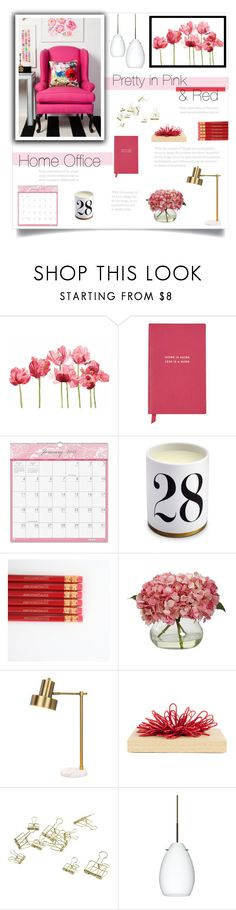 """""""Pink & Red Home Office"""" by catchsomeraes ❤ liked on Polyvore featuring interior, interiors, interior design, home, home decor, interior decorating, Schick, Smythson, House of Doolittle and L'Objet"""