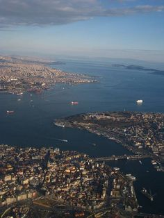 Istanbul's Old City from the air - in the distance Kadıköy and the Princes' Islands