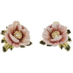Les Néréides WINTER GARDEN LIGHT PINK FLOWERS WITH LEAVES AND CRYSTALS... ($86) ❤ liked on Polyvore featuring jewelry, earrings, accessories, pink, jewelry earrings, pearl jewellery, pink pearl earrings, heart jewelry, flower earrings and pearl earrings