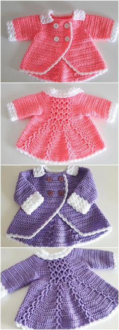 Crochet Baby Sweater Pattern, Baby Sweater Patterns, Baby Girl Crochet, Crochet Baby Clothes, Easy Crochet Patterns, Crochet For Kids, Baby Patterns, Crochet Ideas, Crochet Baby Dresses