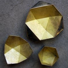 Image of set of 3 brass origami bowls