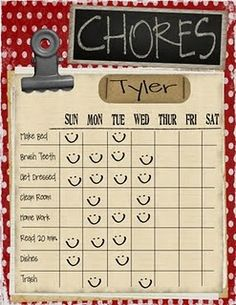 chore list-inspiration. Karli if you make it I will buy it!! Haha!