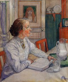 Carl Larsson, My Eldest Daughter, Suzanne with Milk and Book, 1904