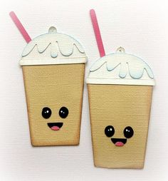 SET OF 2 FRAPPUCCINOS SHOPPIES PREMADE PAPER PIECING 3D DIE CUT BY KIRA #Handmade