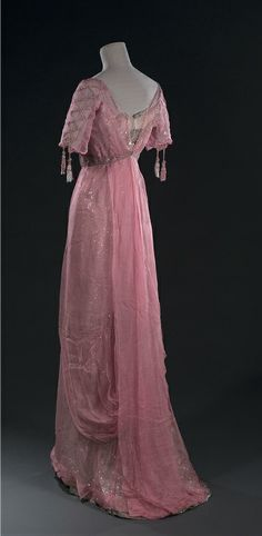 Pink Chiffon Gown - c. 1905 - Embroidered with sequins